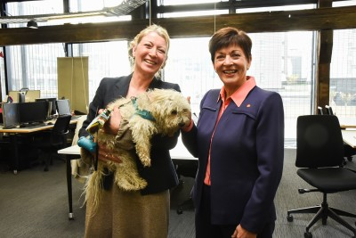 Dame Patsy in the Start-up space, confirming that it is a dog-friendly environment