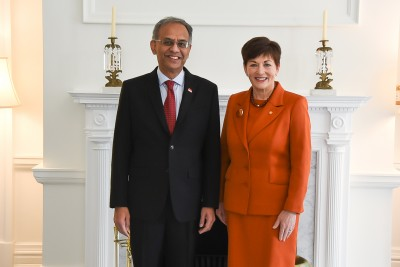 Image of Dame Patsy with HE Mr Sudesh Maniar, High Commissioner of the Republic of Singapore