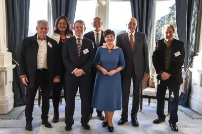 Image of Dame Patsy and Sir David with the official party