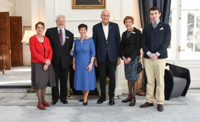 Dame Patsy and Sir David with members of the official party