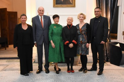 Dame Patsy and Sir David with Vivienne Stone, Dame Robin White, Shane Cotton and Eve Armstrong