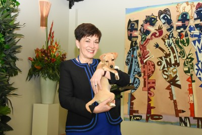 Dame Patsy with a rescue puppy, Coco