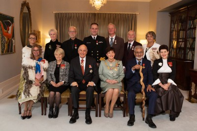 Image of Dame Patsy and Sir David with recipients at the Tues 3 Sept PM ceremony