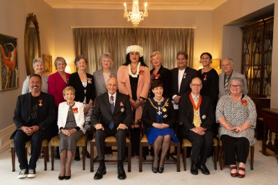 Image of Dame Patsy and Sir David with all recipients