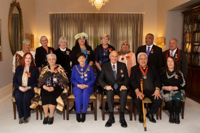 Sir Patsy and Sir David with the recipients at the Friday 6 September 2019 investiture