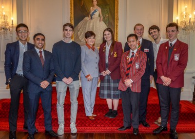 Dame Patsy and students attending the Eureka! Symposium