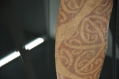 This ancient paddle still carries decoration applied with shark's liver and ochre