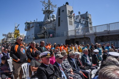 HMNZS Otago and the guests at the welcome