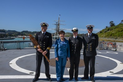 Dame Patsy on the flight deck of HMNZS Otago
