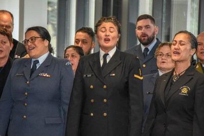 Defence personnel sang magnificently at the opening