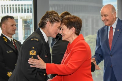 Dame Patsy greeting Defence personnel