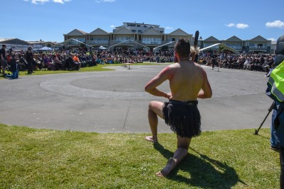 A warrior in front of the paepae