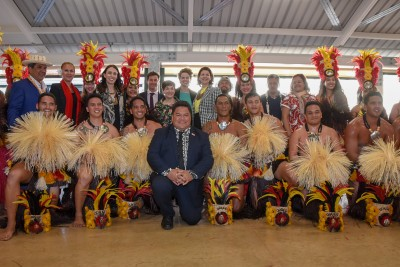 Dame Patsy joined the Prime Minister and other dignitaries for this photo with the Tahitian cultural group