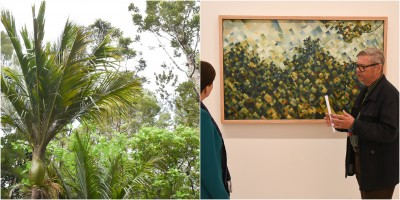 Image of Colin McCahon's 'Titirangi' with an image of the Titirangi bush surrounding his house