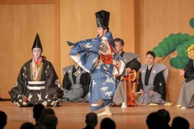 Traditional court music, bugaku, entertained guests at the Imperial Palace