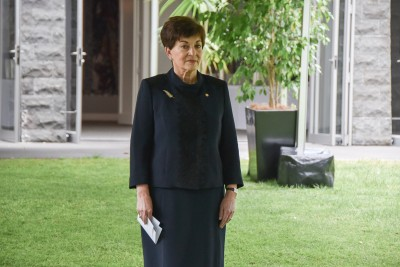 Image of Dame Patsy arriving for the memorial service