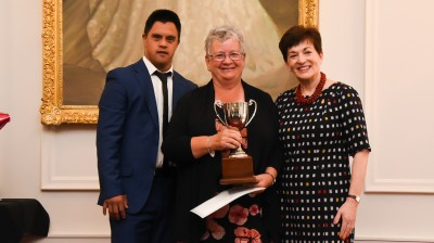 Dame Patsy and Jacob Dombroski with Sue McFarlane, winner of the Community Service Award