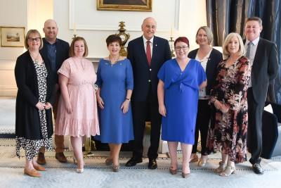 Image of Dame Patsy and Sir David with Good Bitches founders Nicole Murray and Marie Fitzpatrick plus Simon Thomas, Julie Treanor, Glen Neal, Anjuli Muller and Lyn Millman