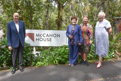 Image of Dame Patsy and Sir David with Viv Stone, Director, McCahon House Museum and Artists' Residency and Cynthia Smith,, Chair McCahon House Trust