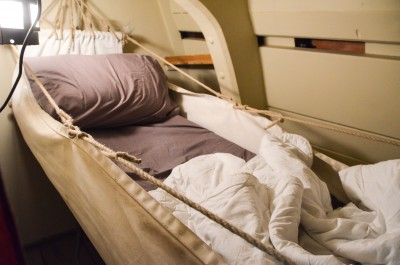 Image of an officer's hammock on the 'Endeavour'.