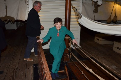 Image of Dame Patsy heading even further below deck