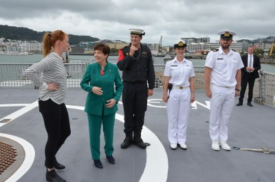 Image of Dame Patsy on board the HMNZS Wellington