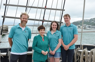 Image of Dame Patsy with master Nic Charrington and crew Hannah and Callum