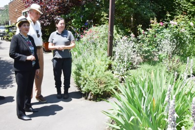 Image of Dame Patsy and Sir David with Head Gardener Sarah Oxley