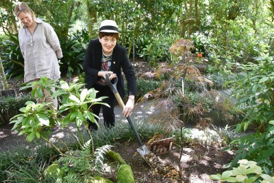 Image of Dame Patsy planting a tree - a crimson Weeping Maple