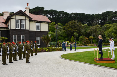 HE Ms Nina Obermaier with the Guard of Honour