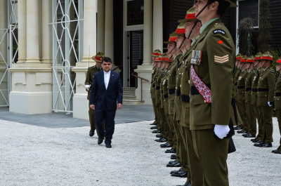 HE Dr Mohammad Reza Mofatteh inspecting the Guard of Honour