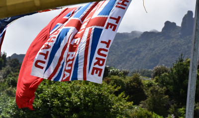 Flags and the sacred mountain of Maungapohatu