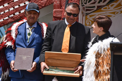 Dame Patsy presented Richard Tumarae with a mere