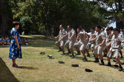 Cadets performing a haka for Dame Patsy