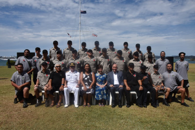 Their Excellencies with Rear Admiral Proctor and staff and cadets of the Academy