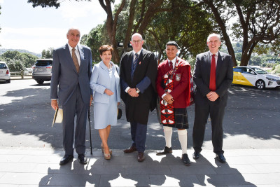 Image of Dame Patsy and Sir David being welcomed by Headmaster Graham Yule, Head Prefect Moses Moala-Mafi and Scots College Board Chair Philip Poppe