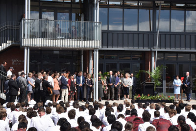Image of Scots College staff singing
