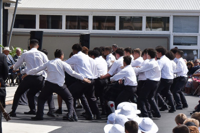 Image of Scots College students doing a haka for the official party