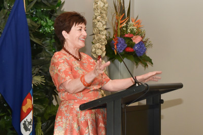 Image of Dame Patsy speaking at the SheEO function