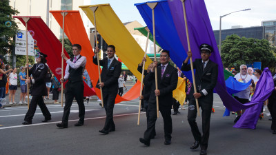 Air New Zealand crew in the Pride Parade