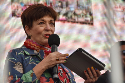 Dame Patsy Reddy speaks at the Wellington International Pride Parade 2020
