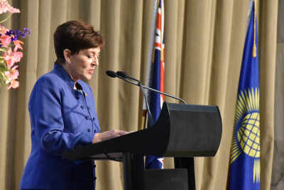 Dame Patsy Reddy reading the Commonwealth Messsage