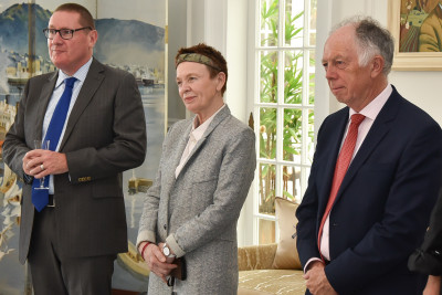 Image of  Laurie Anderson with Brian Finn and Festival Executive Chair Geoff Dangerfield.