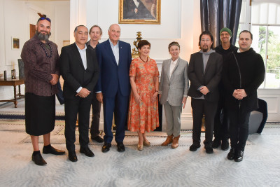 Image of Dame Patsy and Sir David with Horomona Horo, Lemi Ponifasio, Greg Cohen, Laurie Anderson, Eyvind Kang, Shahzad Ismaily and Reubin Kodheli