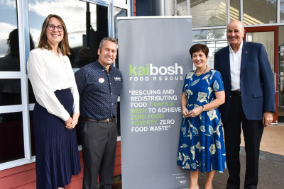 Dame Patsy and Sir David with Matt Dagger, General Manager of Kaibosh and Kathryn Robinson, Chair of Kaibosh
