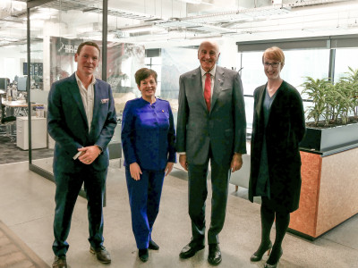 Image of Dame Patsy and Sir David with At Tourism New Zealand with CEO Stephen England-Hall and GM NZ and Government Relations Billie Hall