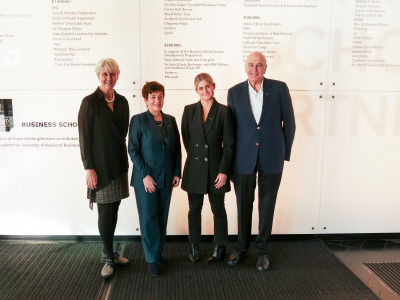 Image of Dame Patsy and Sir David with Aotearoa Circle CE Vicki Watson and Isabel Fenwick