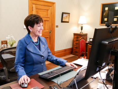Image of Dame Patsy speaking at a Global Women online forum