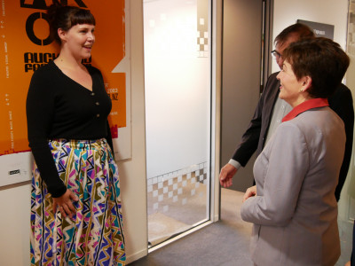 Image of Dame Patsy meeting  Head of Programming Steph Walker