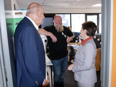 Image of Dame Patsy meeting Technical Manager Nick Tomlin